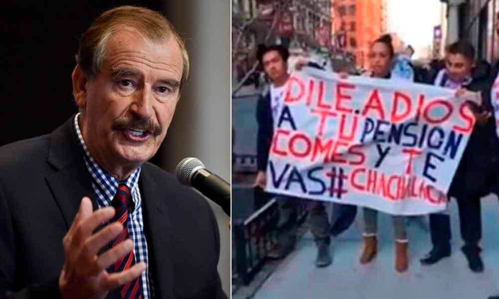 Migrantes gritan 'traidor y ratero' a Vicente Fox en Nueva York