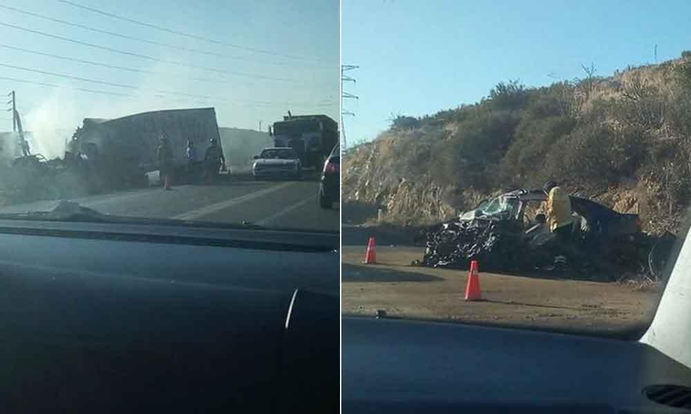 Madre e hijas lesionadas tras fuerte choque en carretera Mexicali-Tecate