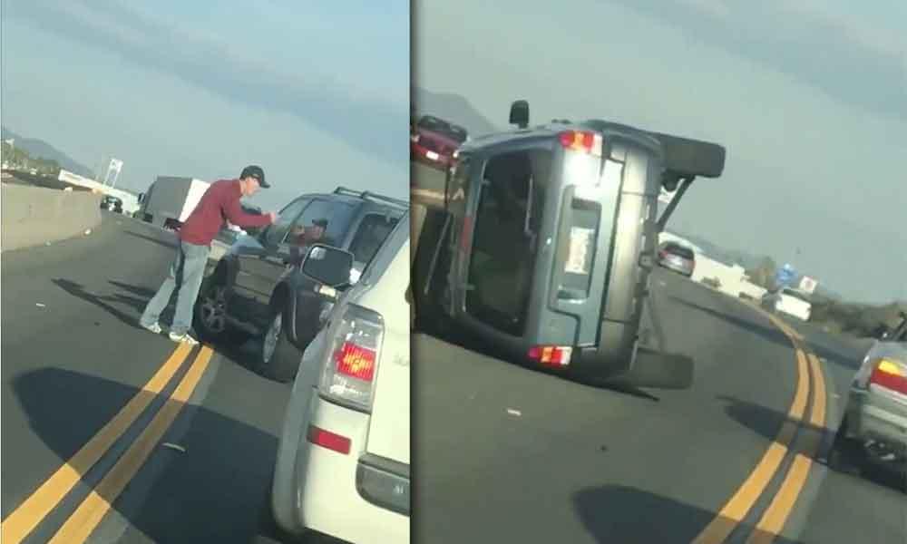Discuten sobre la autopista y después… el auto se voltea, pasó en California