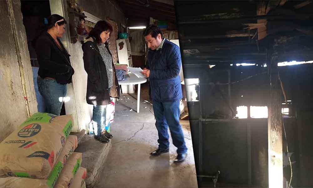 Benefician con material a familia afectada por incendio en Tecate
