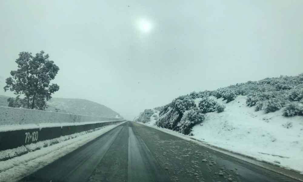 Precaución por tramos nevados en El Hongo, La Rumorosa y Ojos Negros