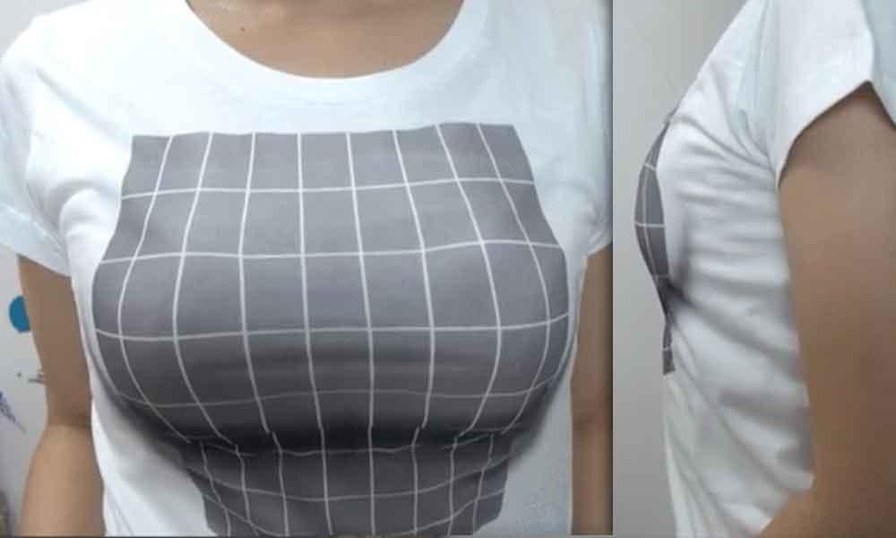 Camiseta de venta por internet utiliza la ilusión óptica para aumentar senos incluso con el pecho plano