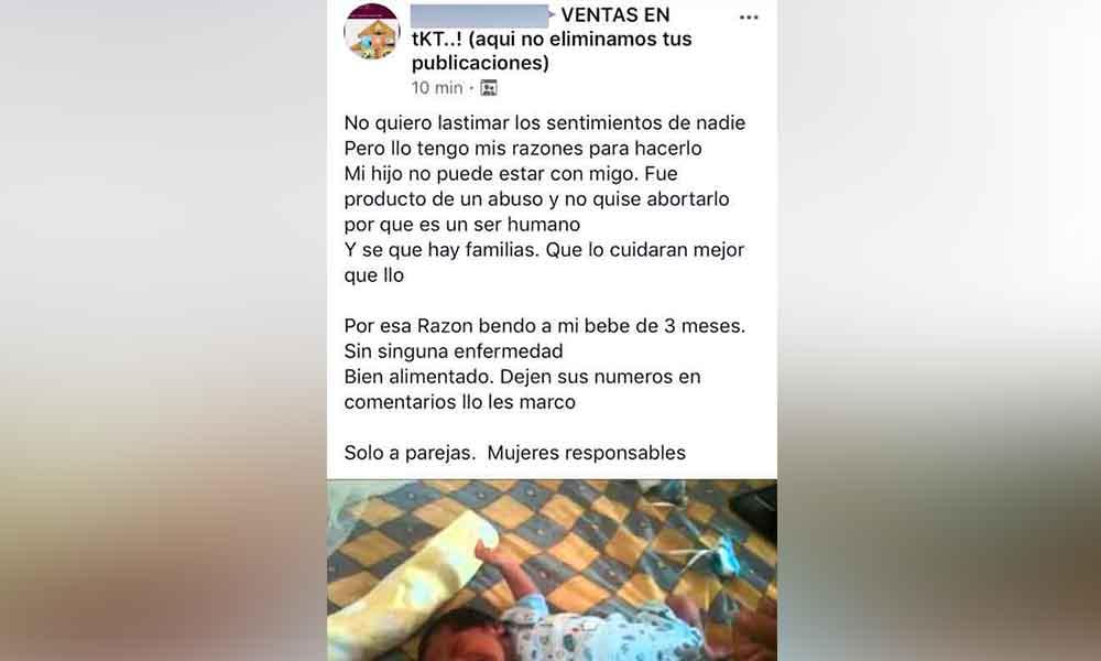 """""""Mi bebé fue producto de un abuso y no quise abortarlo"""": así publicó una joven tras intentar vender a su bebé en Tecate"""