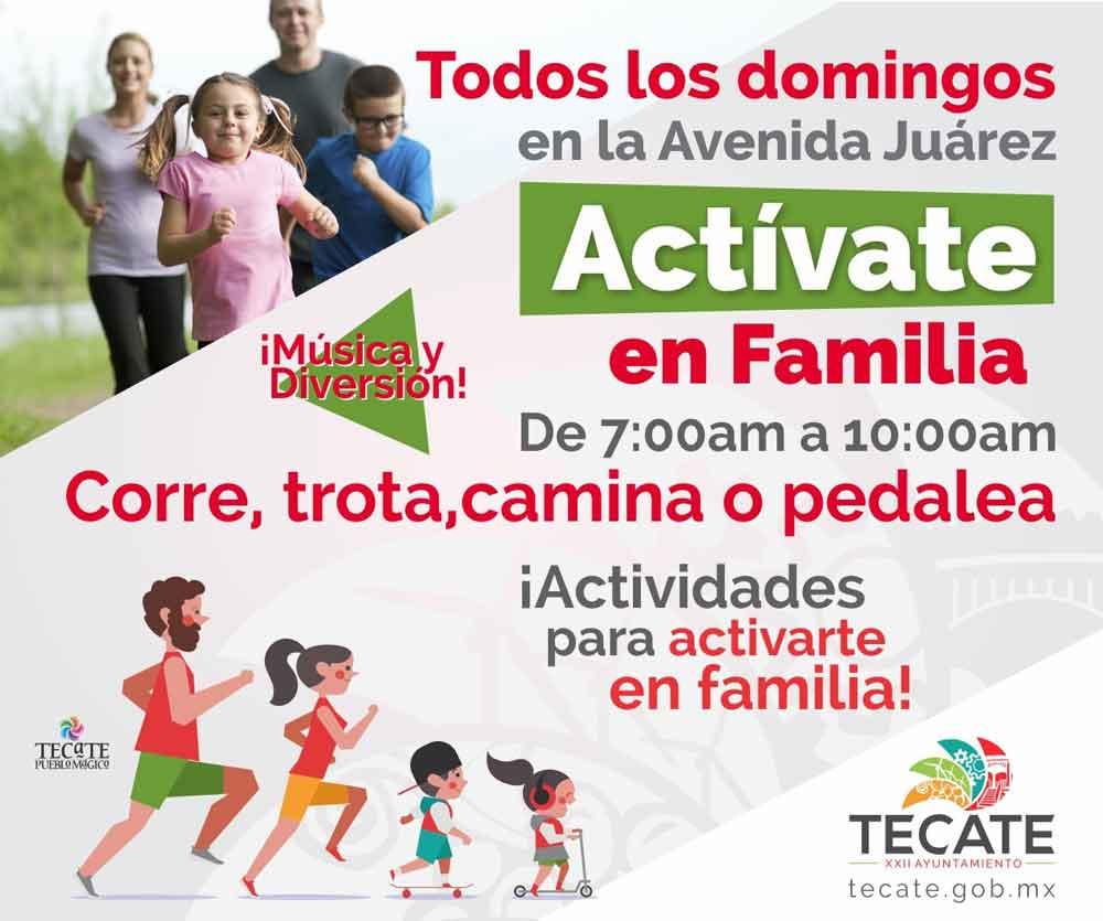 Invitan el domingo 25 de marzo una edición más de Actívate en Familia