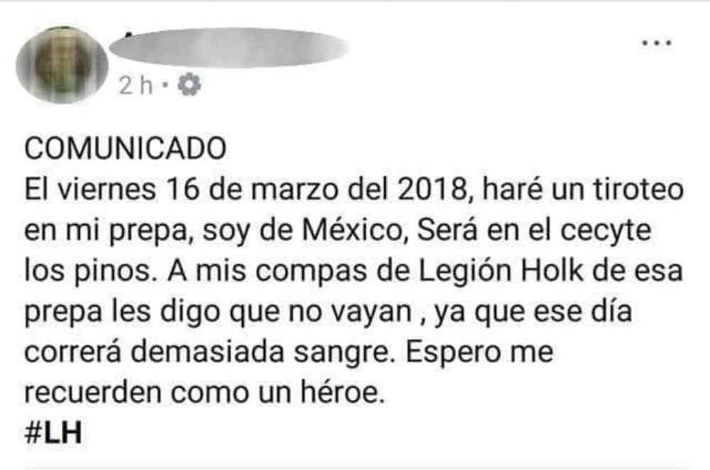 Joven amenaza en redes de tiroteo en Cecyte de Mexicali