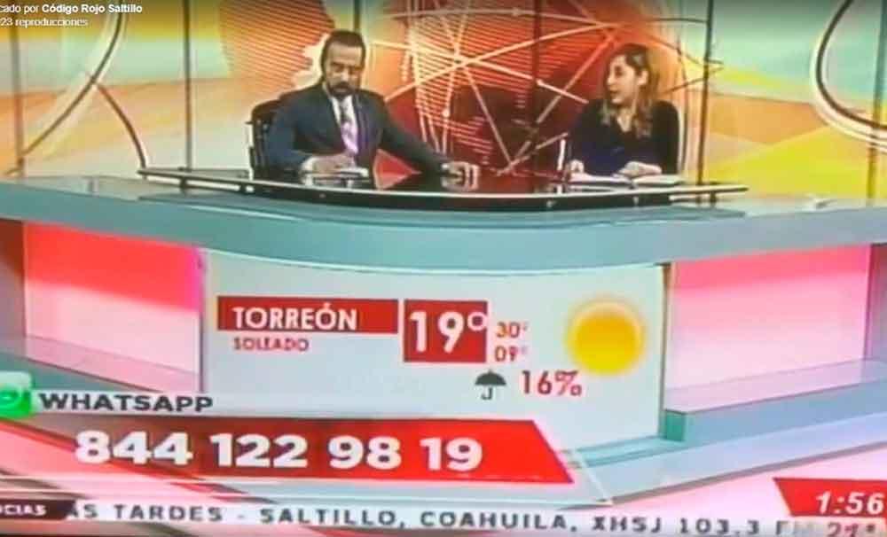 Conductor de noticias de Coahuila abre video de la broma de los gemidos