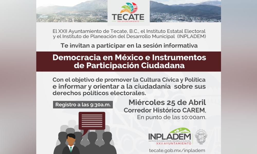 Impartirán taller de cultura cívica y política al público en general en Tecate
