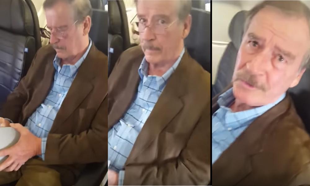 Mujer encara a Vicente Fox en avión (Video)