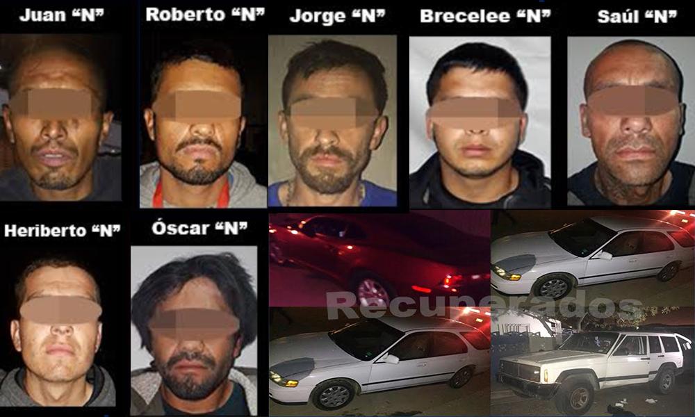Detienen a 7 sujetos y recuperan 5 vehículos robados en Tijuana