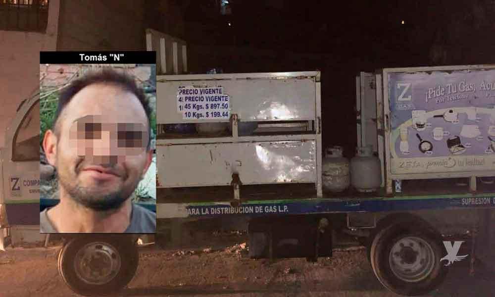 Policía Municipal apresa a sujeto tras robar camión con tanques de gas