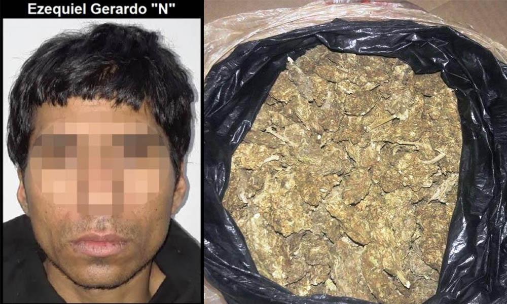 Arrestan a sujeto y decomisan un kilo de marihuana en Tijuana