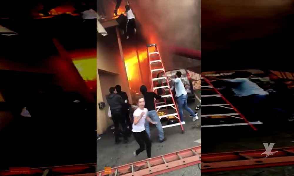 (VIDEO) Niñas saltan de balcón en escuela de danza; para escapar de incendio