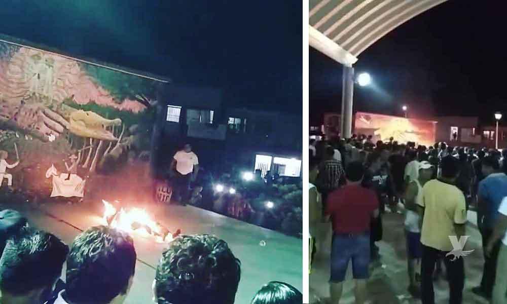 (VIDEO) Linchan y queman a un hombre por robo en Tabasco