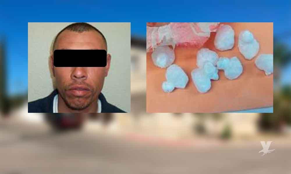 Sujeto detenido por portación de droga; manejaba en sentido contrario por conocida colonia de Tecate