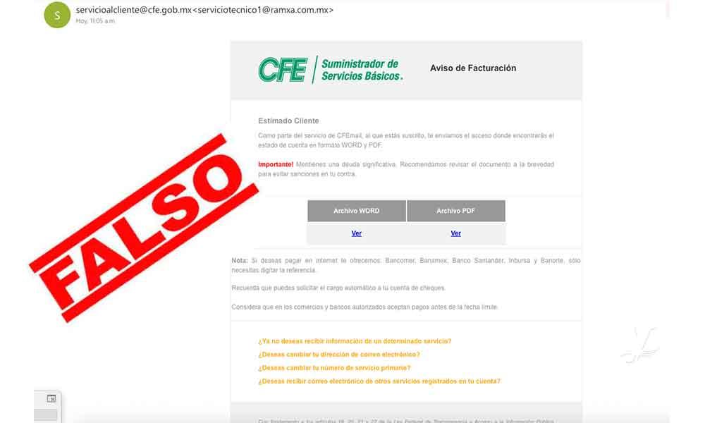 Correos electrónicos de CFE: la nueva forma de fraude y robo de identidad