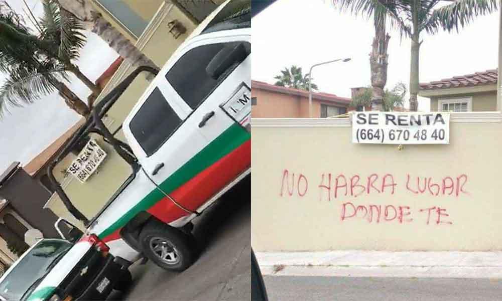 """Rayan y ponen """"En Renta"""" casa de argentinos que agredieron a jóvenes en colonia Lomas de Agua Caliente en Tijuana"""