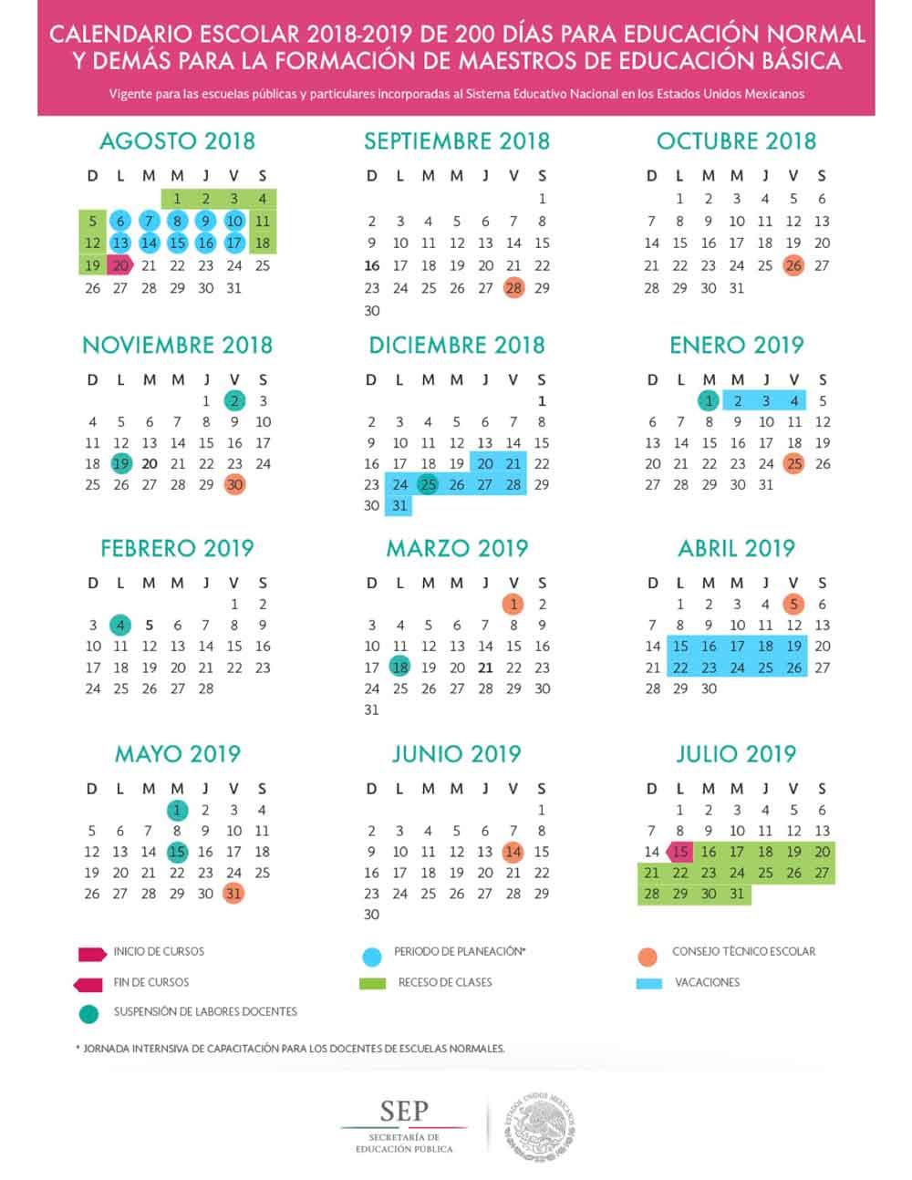 Calendario Escolar 2017 2019 200 Dias Educacion