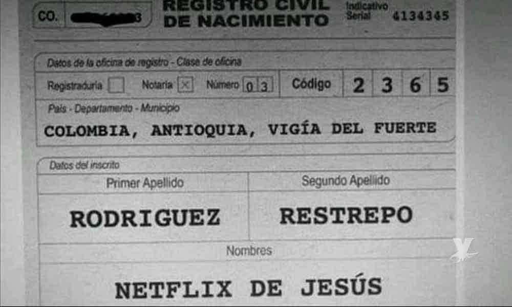 Netflix de Jesús; fue el nombre elegido por los padres para un bebé en Colombia