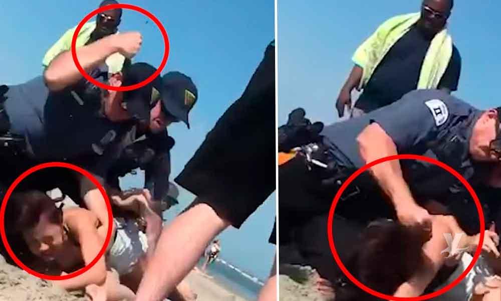 (VIDEO) Oficial de policía golpea a una mujer en la playa mientras intenta arrestarla