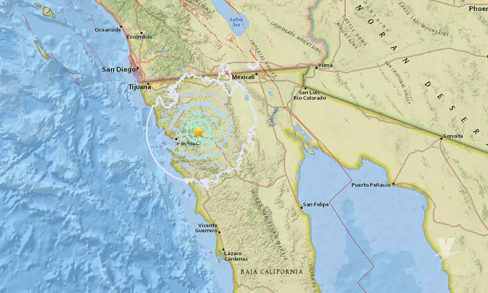 Se registra temblor con magnitud de 4.7 en Tecate