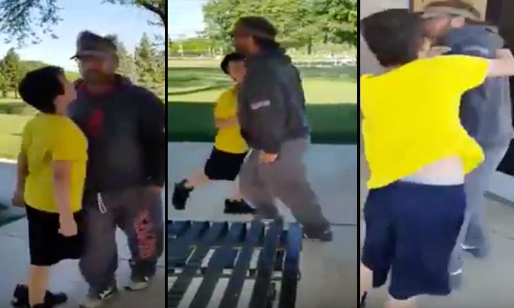 Niño enfrenta a adulto tras pedirle que no rayara autos (VIDEO)