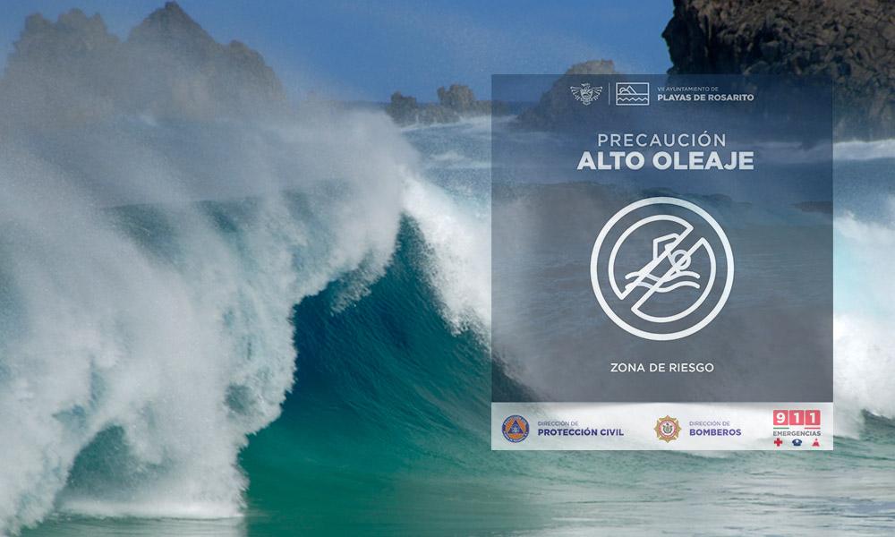 Advierten sobre oleaje alto en la costa de Playas de Rosarito