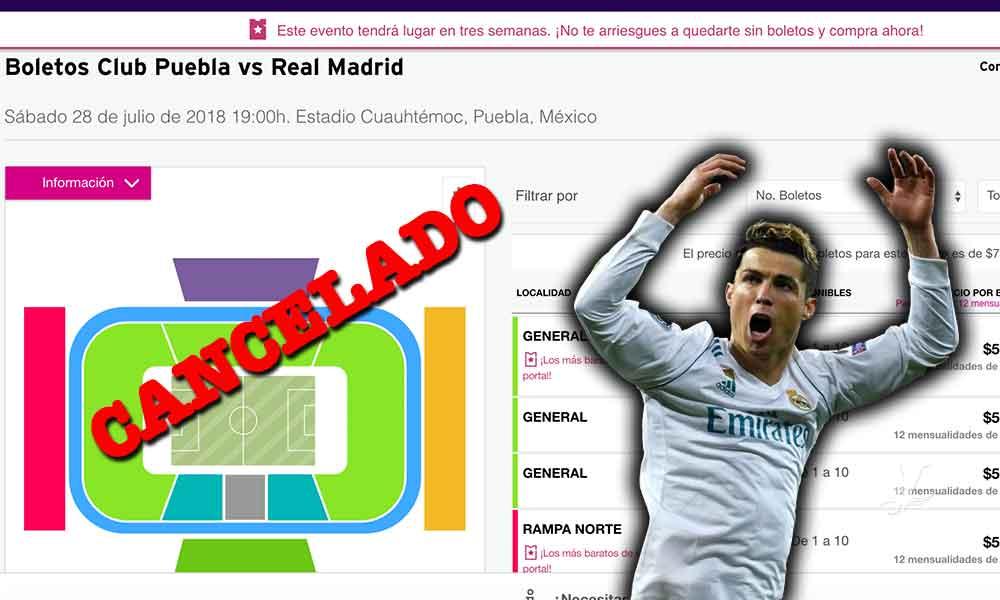 """Real Madrid deja """"vestido y alborotado"""" a Puebla, cancelan el partido"""