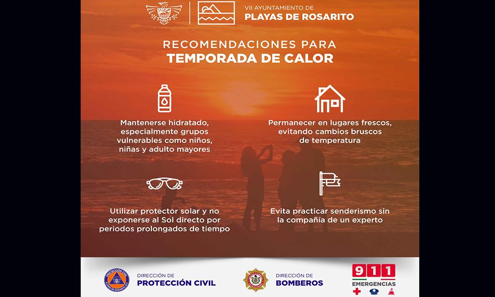 Permanecerá ambiente caluroso en Playas de Rosarito: Protección Civil