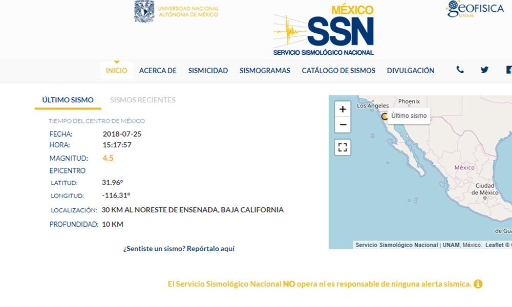 Reporta Protección Civil sismo de 4.5 grados escala Ritcher a 30 km de Maneadero
