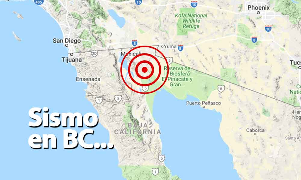 Reportan sismo al sur de Mexicali
