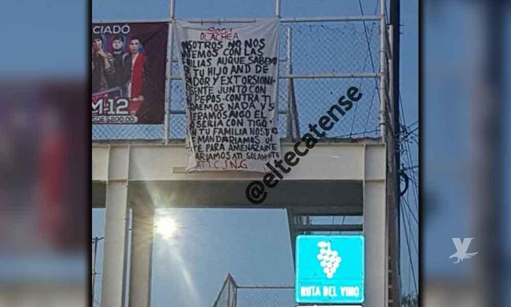 Colocan narcomanta contra Sosa Olachea en puente de Tecate cerca de UABC; también se encontraron casquillos percutidos en el lugar