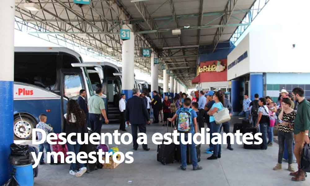 Hasta 50% de descuento a estudiantes y maestros en  Centrales Camioneras durante periodo vacacional