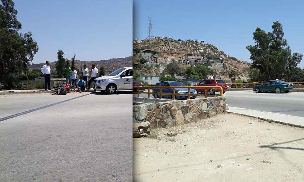 Pierde el control y se estrella contra el borde del puente en bulevar encinos en Tecate