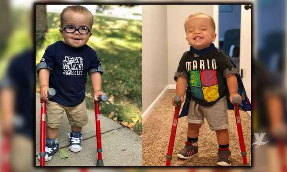 (VIDEO) Niño de dos años con espina bífida logra caminar e inspira al mundo
