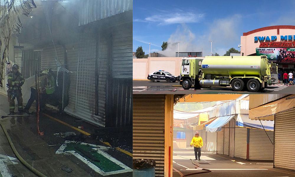 Bomberos sofocan incendio en el Swap Meet Encinos en Tecate