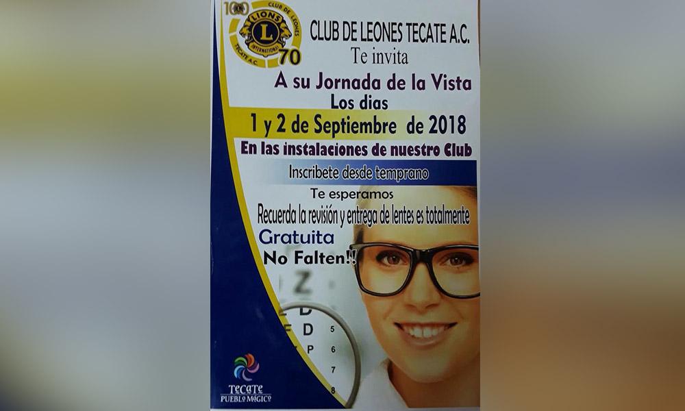 Club de Leones invita a la Jornada de la vista gratuita en Tecate