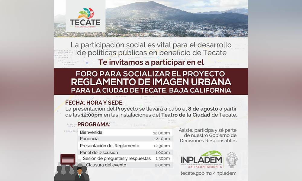 Convocan al Foro para Socializar el Proyecto del Reglamento de Imagen Urbana para la Ciudad en Tecate