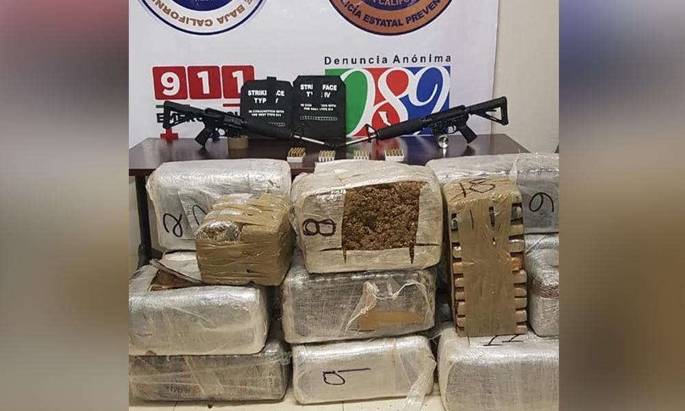 Incautan más de 160 kilos de marihuana y armas de fuego en Tijuana