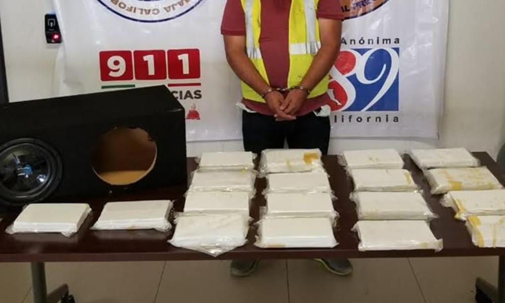 Incautan en Tijuana 18 kilos de cocaína en bocinas de un vehículo, hay un detenido