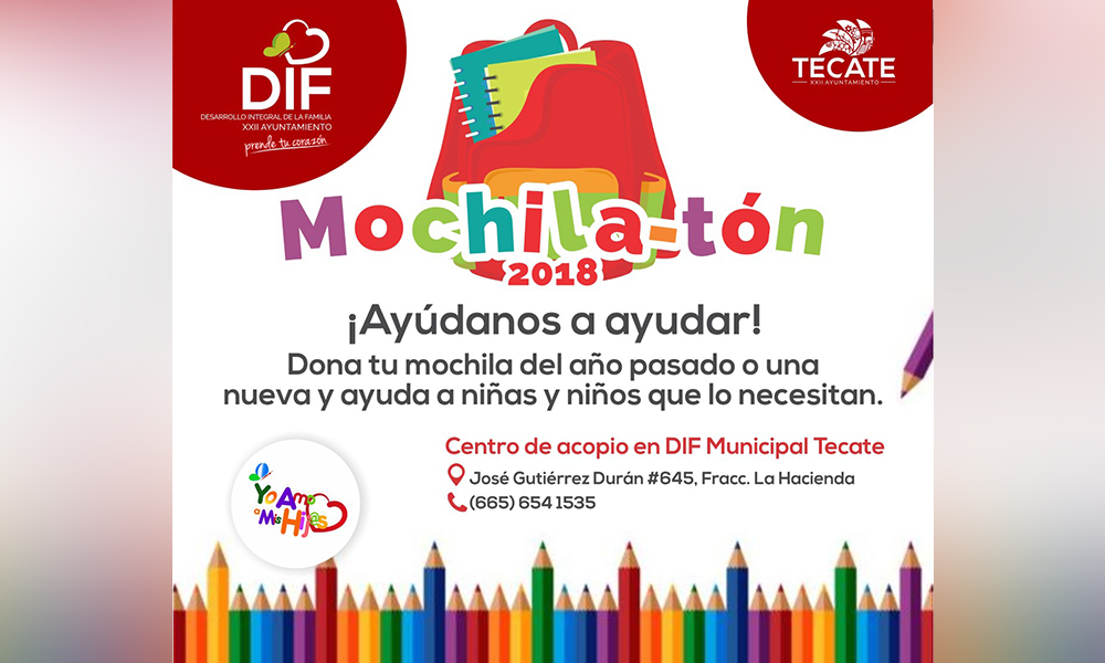 Invita DIF Tecate a sumarse al Mochila-tón 2018
