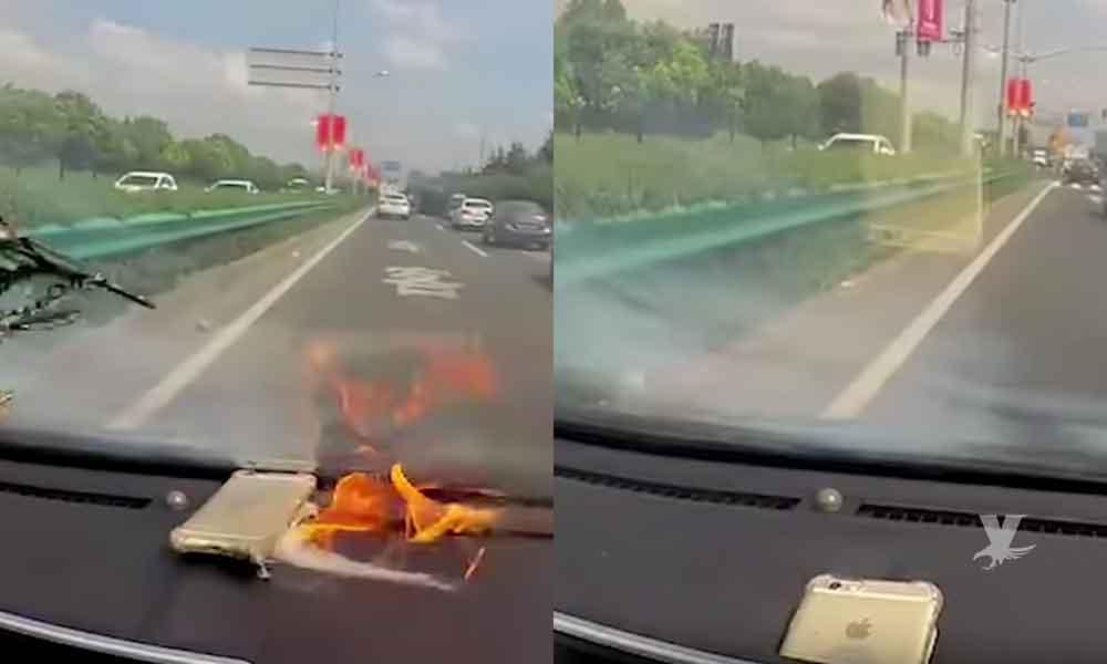 (VIDEO) Mujer conducía su automóvil cuando de pronto su iPhone explotó