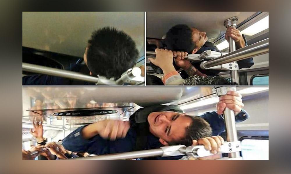 Joven viaja sobre los tubos del Tren Ligero para no llegar tarde a su trabajo (VIDEO)