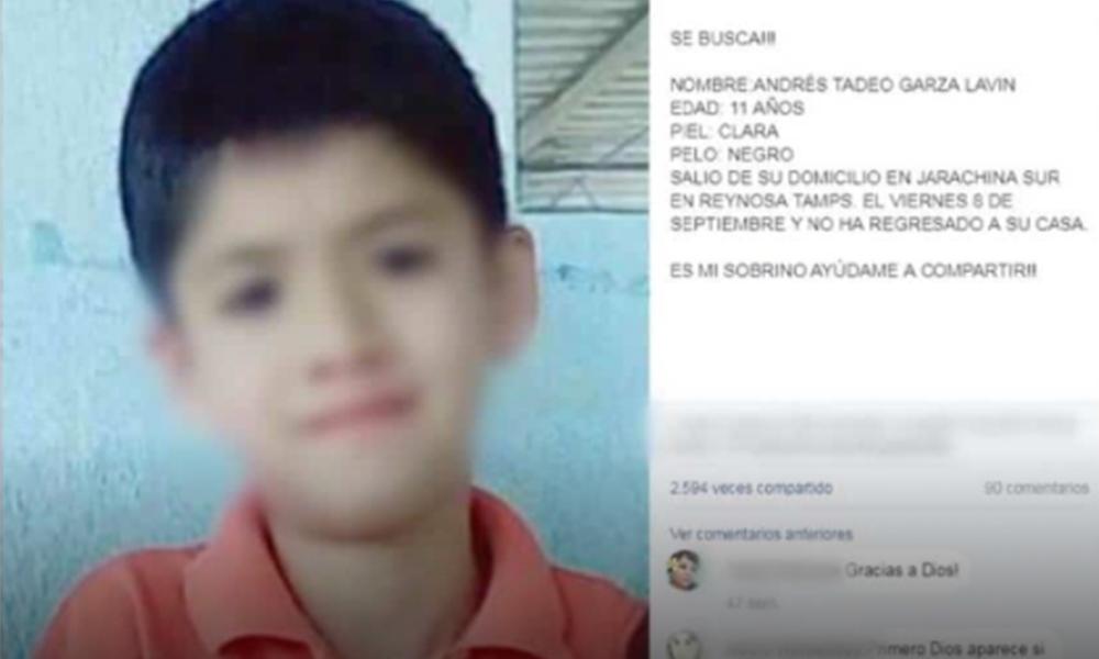 Localizan en Nuevo León a Andres, menor desaparecido en Tamaulipas