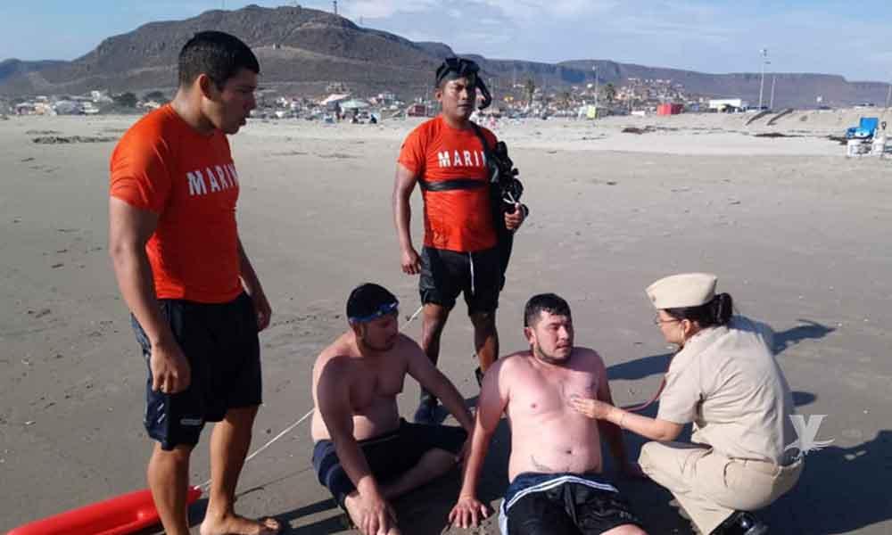 Marina-Armada de México rescata dos turistas a punto de ahogarse en Ensenada