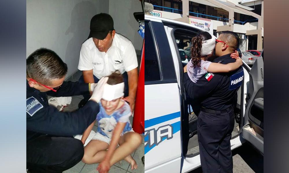 Menor es auxiliada tras caer de escaleras por Policía Comercial en Tijuana