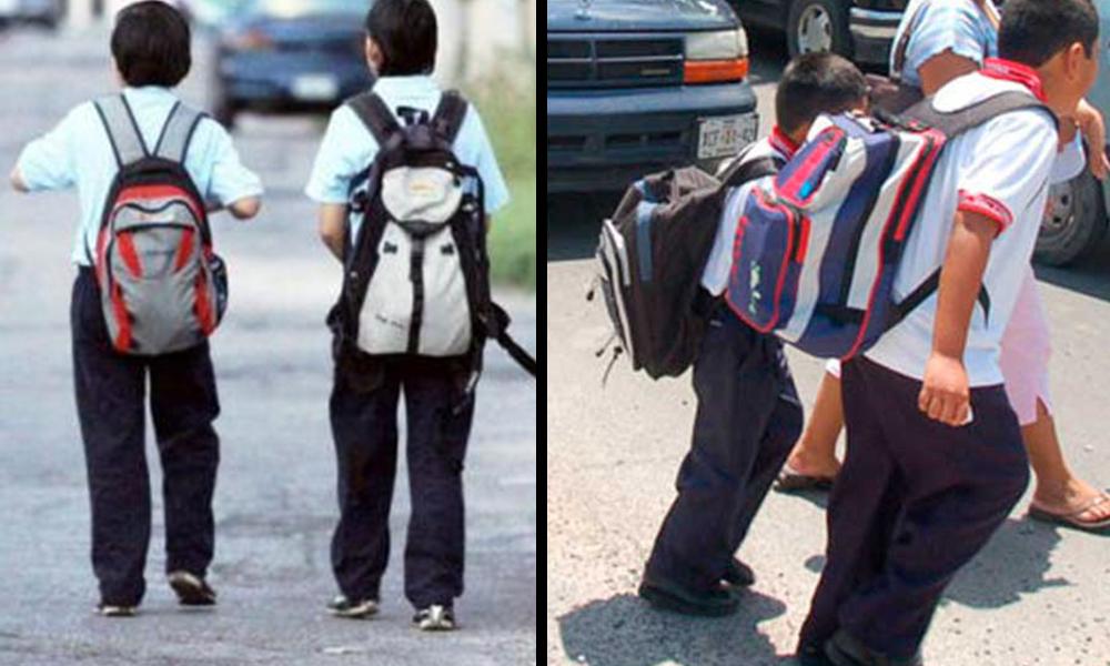 ¡Cuidado! La mochila escolar con exceso de peso es un riesgo para la salud
