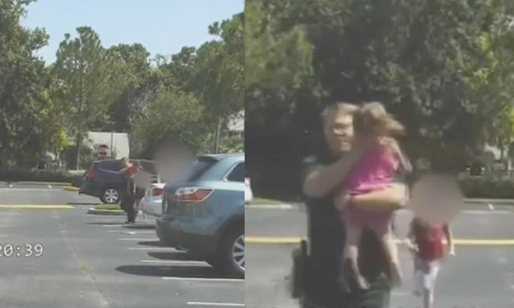 Salva policía a una niña de morir tras ser olvidada en el auto por 12 horas (VIDEO)