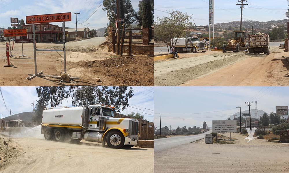 Preparan trabajos de pavimentación de carretera alimentadora en Cerro Azul en Tecate