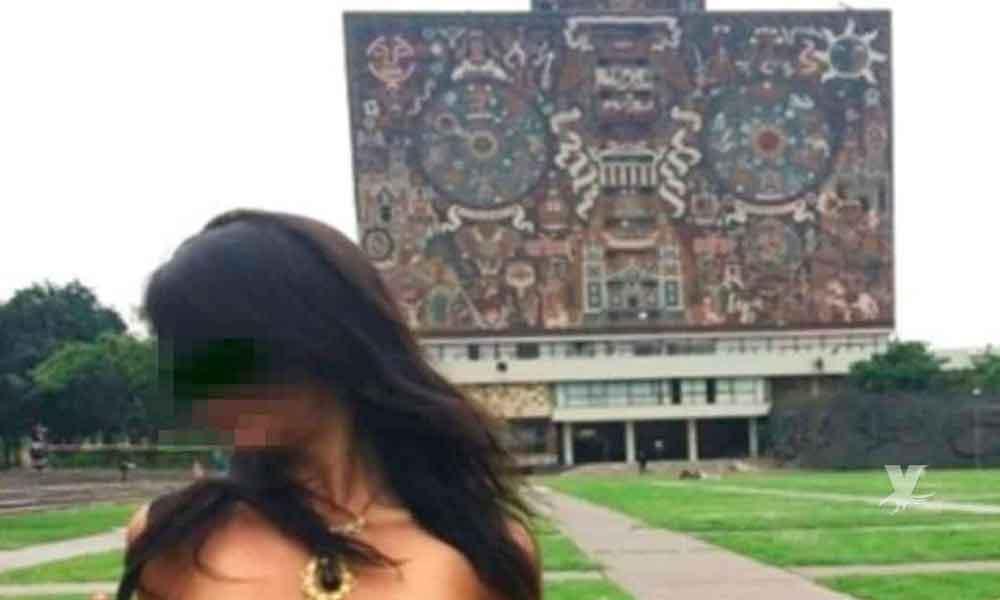 Mujer se toma fotografías posando en ropa interior en la instalaciones de la UNAM