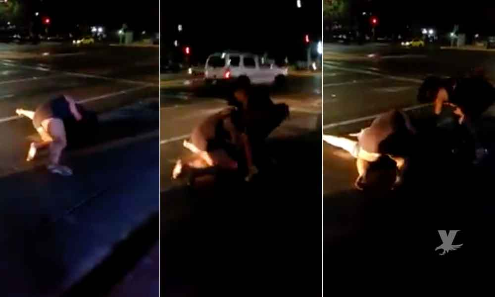 (VIDEO) Jovencitas protagonizan pelea afuera de Bar Le Conteiner de Tijuana